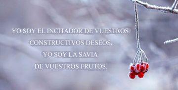 YO SOY EL INCITADOR DE VUESTROS CONSTRUCTIVOS DESEOS. YO SOY LA SAVIA DE VUESTROS FRUTOS.